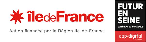"""Logo de la région ile de France et Futur en Seine, Orosound lauréate de la catégorie """"l'intelligence des objets connectés"""""""